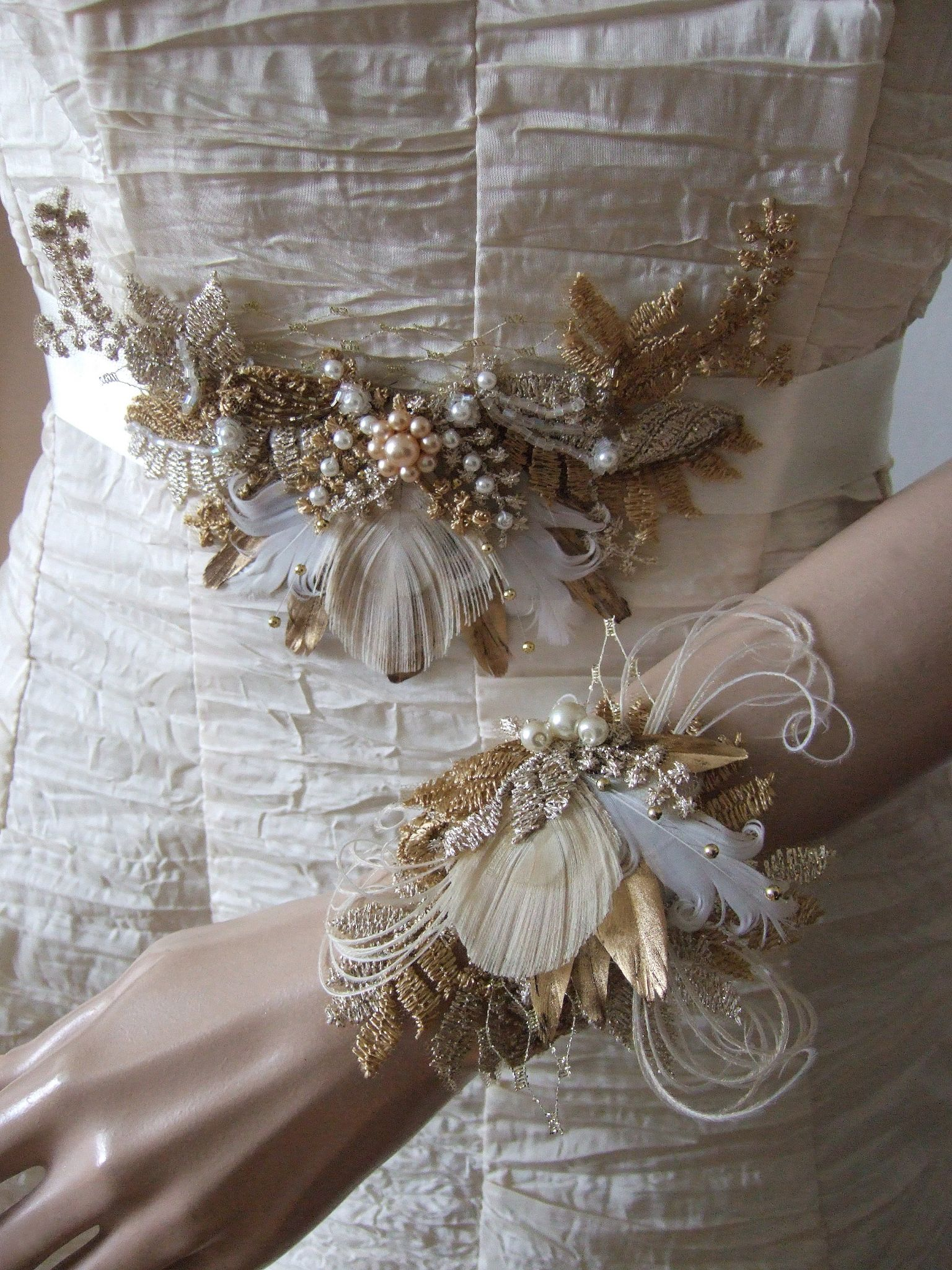 Gold Pheasant Peacock Feathers Bridal Sash In Vintage Lace